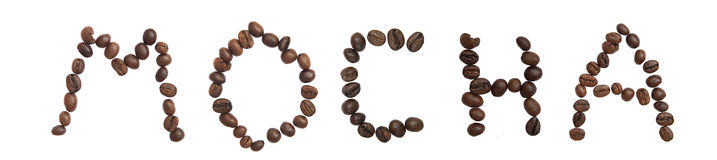 Isolated Word 'MOCHA' make from coffee bean Stock Images