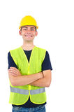 Isolated worker with helmet Royalty Free Stock Photography