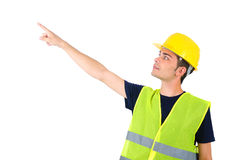 Isolated worker with helmet Royalty Free Stock Photos