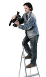 Isolated working cameraman Stock Photo