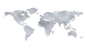 Isolated world map - wrinkled paper texture Royalty Free Stock Photos