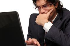 Isolated worried business man Royalty Free Stock Images