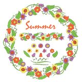 An isolated wreath of summer flowers royalty free illustration