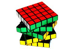 Isolated 5x5 Rubik's Cube. Royalty Free Stock Photography