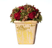 Isolated xmas centerpiece with roses. Isolated decoration with roses and gold elements for Christmas centerpiece stock photo