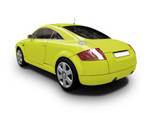 Isolated yellow car back view Royalty Free Stock Image
