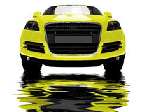 Isolated yellow car with reflections Royalty Free Stock Photo