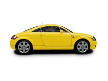 Isolated yellow car side view Royalty Free Stock Photography