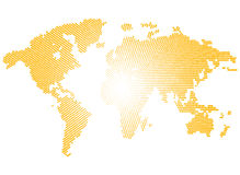 Isolated yellow color worldmap of dots on white background, earth vector illustration Royalty Free Stock Image