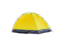Isolated yellow dome tent on white Royalty Free Stock Images