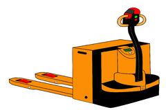 Isolated yellow electric palletjack illustration Royalty Free Stock Image