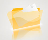 Isolated yellow folder with blank letter Royalty Free Stock Image