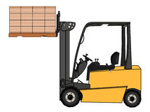 Isolated Yellow forklift illustration Royalty Free Stock Photography
