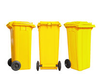 Isolated yellow garbage bin Royalty Free Stock Photos