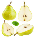 Isolated yellow green pears Royalty Free Stock Images