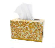 Isolated Yellow and Orange Box of Tissues. Yellow and Orange Box of Tissues on White Background Royalty Free Stock Photos