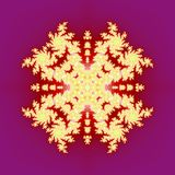 Isolated yellow orange fractal ornaments in white background. Red corner of frame. Royalty Free Stock Photography
