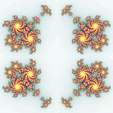 Isolated yellow orange fractal ornaments in white background. Red corner of frame. Stock Image