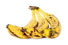 Yellow over ripe bananas stock photography
