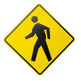 Isolated Yellow Pedestrian Warning or Safety Sign royalty free stock photography