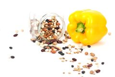 Isolated yellow pepper and bean pattern Royalty Free Stock Photos