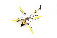 Isolated Yellow Remote Controlled Helicopter. Top View of Yellow Remote Control Helicopter on White Background Stock Photo