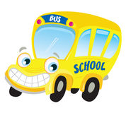 Isolated yellow school bus. Funny yellow school bus isolated on white background. Vector Illustration Royalty Free Stock Photo