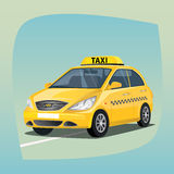Isolated yellow taxi car. Isolated, detailed images of three-dimensional taxicab, yellow car with luminous taxi top sign, the main device of taxi drivers in Stock Images