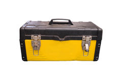 Isolated yellow tool box. For technician on white background stock photography