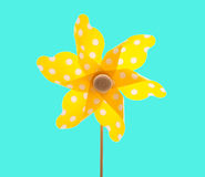 Isolated yellow windmill - summertime feelings Stock Photo
