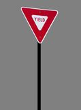 Isolated Yield Sign. A high quality isolated metal yield sign close up image stock photos