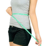 Young asian woman with a measuring rope Stock Photography