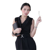 Isolated young business woman hold  her book and pen overwhite b Royalty Free Stock Image