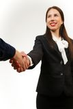 Isolated young business woman, shaking hands Stock Photo