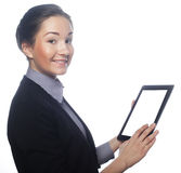 Isolated young business woman showing tablet Stock Image