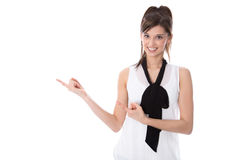 Isolated young elegant woman presenting with fingers. Young adorable businesswoman is presenting with her fingers isolated on white background Stock Photography
