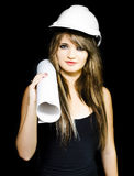Isolated young female structural engineer Stock Image