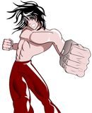 Isolated Young fighter cartoon. Image representing a young fighter in the act of throw a punch Royalty Free Stock Photography