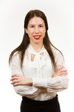 Isolated young happy business woman Royalty Free Stock Photography