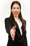 Isolated young happy business woman Stock Images