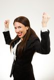 Isolated young happy business woman royalty free stock photos