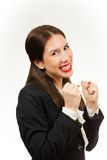 Isolated young happy business woman Royalty Free Stock Images