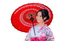 Isolated Young Japanese Woman in Pink Kimono Dress Stock Photography
