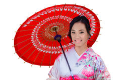 Isolated Young Japanese Woman in Pink Kimono Dress Royalty Free Stock Photo