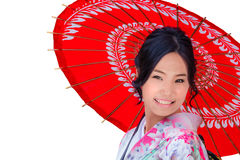 Isolated Young Japanese Woman in Pink Kimono Dress Royalty Free Stock Images