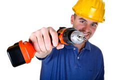 Isolated young manual worker with tool. Background Stock Image