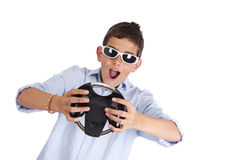 Isolated young playing game Royalty Free Stock Photo