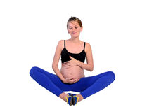 Isolated young pregnant woman Stock Images