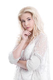Isolated young pretty business woman thinking with white backgro Royalty Free Stock Photo