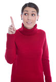Isolated young woman in red raising up her forefinger: good idea Royalty Free Stock Photo